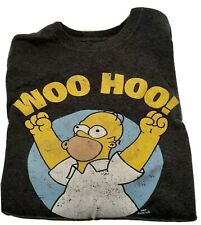THE SIMPSONS Homer Simpson Woo Hoo! T-Shirt- Charcoal-Men's Size Large