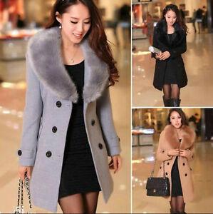 2019 Women's Winter Coat Long Wool Jacket Fur Collar Slim Outwear Trench coat