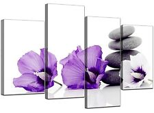 Large Purple Flower Floral Canvas Wall Art Pictures XL Prints Set Size 130