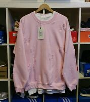 DISTRESSED RIPPED BABY PINK SWEATSHIRT BY 9DEUCE NOT LMDN KANYE YEEZY XL