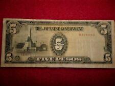 Japan Occupation Phillipines 5 Pesos WW2 Banknote