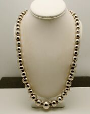"""STERLING SILVER LARGE HEAVY BEADED NECKLACE 25.0""""  #FMK309"""