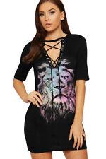 T-shirt, maglie e camicie da donna neri grafici viscosi