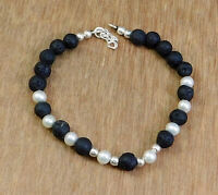 Solid 925 Sterling Silver Jewelry Black Lava Gemstone Beads Gift Bracelet KB1062