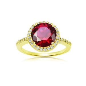 Round Halo Simulated Ruby & Cubic Zirconia Ring in Gold Plated Silver