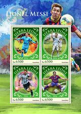 Sierra Leona 2016 estampillada sin montar o nunca montada Lionel Messi 4v m/s fútbol sellos