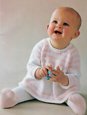 Baby dress angel top and tights  knitting pattern in 4 ply #0047