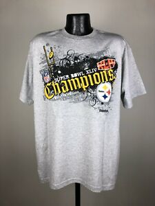 Men's Reebok NFL Pittsburgh Steelers Super Bowl Champions Gray SS Shirt NWT