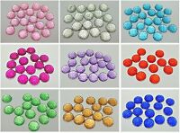 100 Flatback Acrylic Dotted Round Rhinestone Gem Cabochon Dome 12mm Color Choice