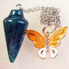 Natural Indian Agate Pendulum & Tibetan Golden Butterfly Pendant Bead S67594