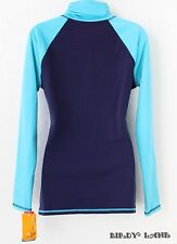 Champion Long Sleeve Athletic Top Navy Turquoise Sports Running Yoga Med NWT