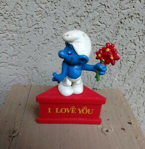 "Vintage Schleich Peyo Smurf A Gram I Love You 3"" Hong Kong Figure"