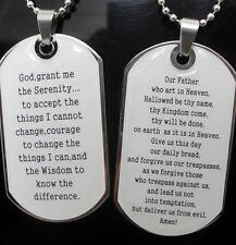 2pcs English LORD'S PRAYER SERENITY PRAYER dog tag Pendant Necklace W/Chain