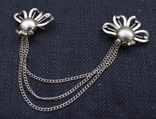 Vintage Signed CURTIS Silvertone Rhinestones Double Brooch with 3 Chains