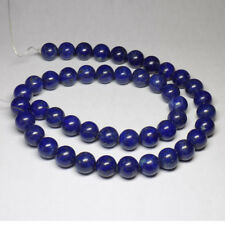 """9mm 100% NATURAL LAPIS LAZULI SMOOTH BEADS  15.5"""" LONG LOOSE STRAND / NECKLACE"""