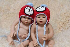 Handmade Knit Crochet Newborn Baby Child Kids Thing 1 Thing Twins Hat Cap Beanie