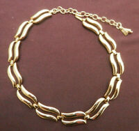 Monet Link Vintage Choker Necklace signed with Monet Key Goldtone