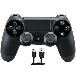 Jet Black Wireless Dualshock PS4 Controller for PlayStation 4 + USB Cable