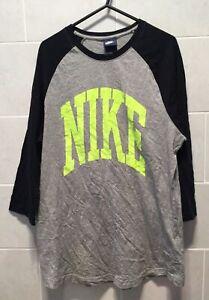 Nike Men's T-Shirt Size Large Grey Black Big Nike Logo