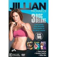 Jillian Michaels 3 Disc Deluxe DVD Yoga Inferno/Kickbox FastFix/Killer Abs V2 R4