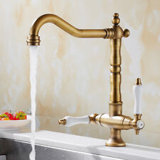 Kitchen Sink Mixer Taps Traditional Georgian Bronze Brass Twin Lever Mono Faucet