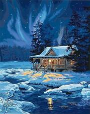 Do It Yourself Paint By Number Kit Plaid Canvas Moonlit Cabin Acrylic Painting