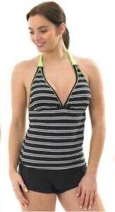 Hot Honi Stripe Tankini Shorts Set Halterneck Swimwear 10-16 FREE P&P