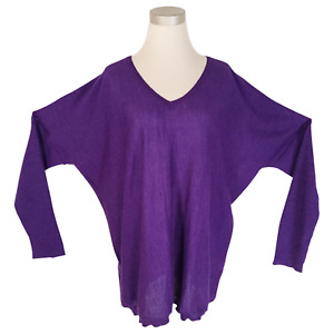 EILEEN FISHER Violet Royal Alpaca V-Neck Boxy Tunic Sweater L/XL $318 NWOT READ