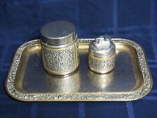 Vintage 3 Piece Erhard Metal German Cigarette Set- Lighter- Holder- Tray