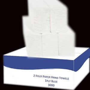 2 ply White Laminated Z Fold Paper Hand Towels (3000 Towels Per Box)