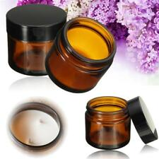 4x 50ml 🌿Amber Glass Jar Pot SkinCare Cream Refillable Bottle Cosmetic Beauty.