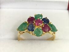 14k Solid Yellow Gold Cluster Flower Band Ring, Natural Mix Stones 2CT, Sz 7.5