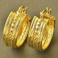 Simple 9K Yellow Gold Filled Womens Girls Hoop Earrings  Lucky Jewelry