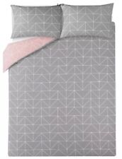 Geometric Pink And Grey Double Duvet Quilt Cover Reversible Polly Cotton Bedding