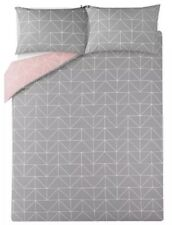 Blush Pink Grey Double Duvet Quilt Cover Reversible Polly Cotton Bedding New