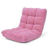 Adjustable 14-Position Floor Chair Folding Lazy Gaming Sofa Chair Cushioned Pink