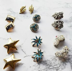 Lot of 7 Pairs Vintage Clip On Metal Mix Earrings  for Crafts Costume