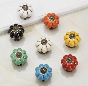 Ceramic Door Knobs .Drawer Pulls. Vintage Pumpkin Style. 8 Amazing New Colours.