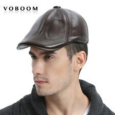100% Genuine Leather Winter Hat Men Ivy Cap Beret Gatsby Newsboy Cap Coffee XL