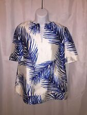 NWT auth TORY BURCH size 2 white/ blue SILK feather print TUNIC beach cover $395