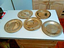 More details for set of 5 vintage hand beaten brass dinner plates (3484)