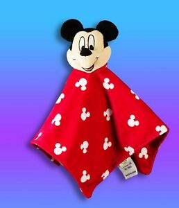 DISNEY Mickey Mouse red velour baby blanket soft security lovie Mickey ears