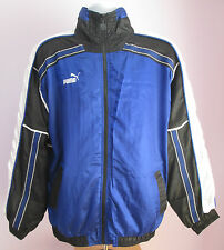 VTG Mens PUMA Shiny Blue Black/White Arms Tracksuit Sport Top Size Small