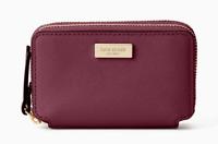 Kate Spade laurel way rosie Double Zip Wallet Card Case Coin Purse ~NWT~ Plum