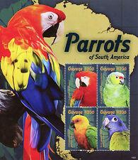 Guyanese Sheet Parrots Bird Postal Stamps