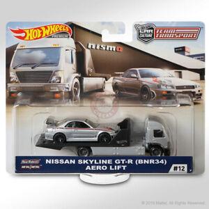 Hot Wheels TEAM TRANSPORT Mix E #12 NISSAN SKYLINE GT-R (BNR34) & AERO LIFT