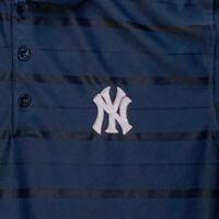 New York Yankees Mens Striped Black Polo Medium