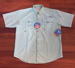 Columbia PFG Bahama II Short Sleeve Shirt Mens S Small Gulf Stream Mint Green