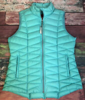 Tangerine Down Puffy Zip Up Vest Aqua Women Size XL NEW