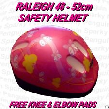 RALEIGH GIRLS PINK SAFTEY HELMET, ELBOW & KNEE PADS SET BIKE BICYCLE SKATING